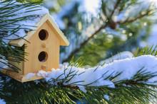 A Bird House In A Winter Garden.