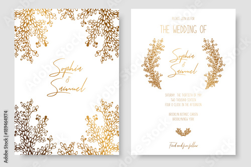 Obraz Gold invitation with floral branches. Gold cards templates for save the date, wedding invites, greeting cards, postcards. - fototapety do salonu