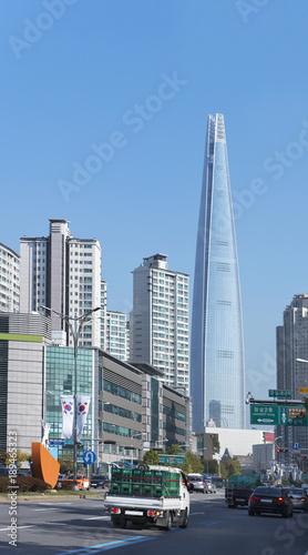 Naklejka premium Korea Południowa, Seul, Lotte World Tower, wieżowiec