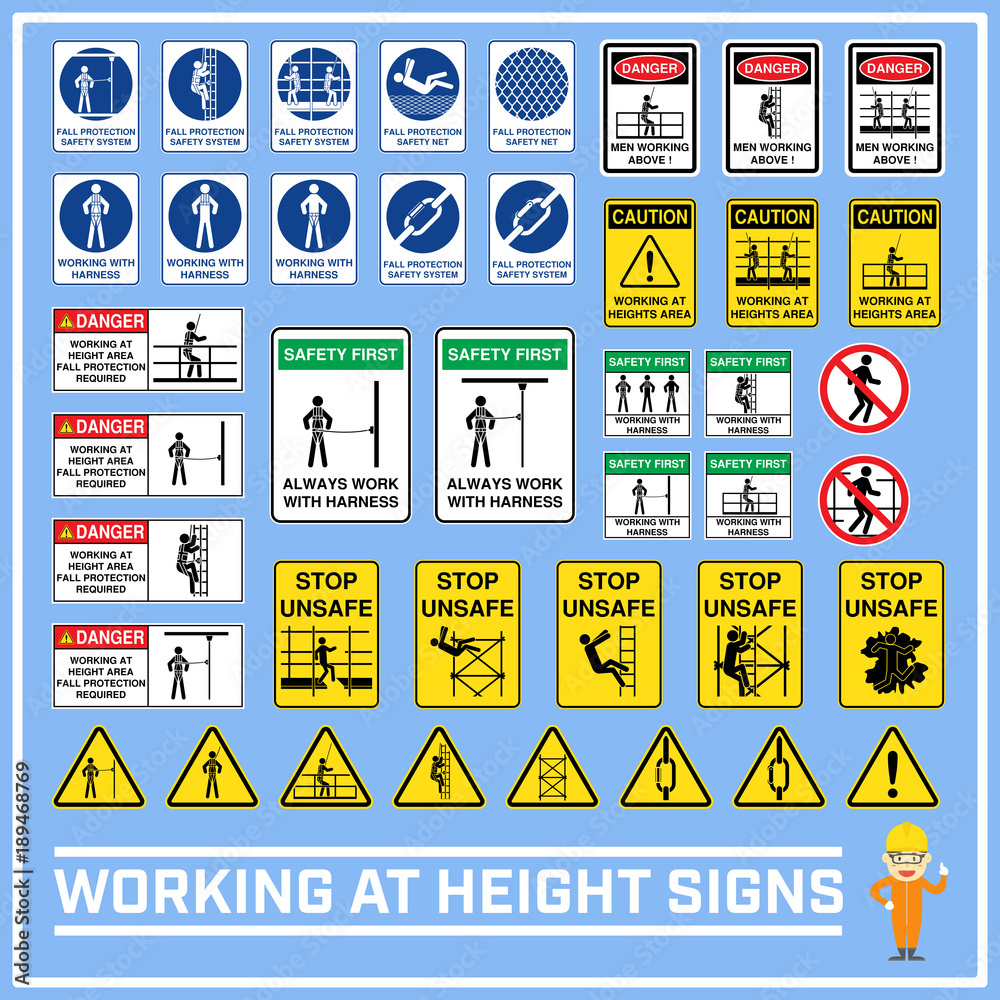 Fototapeta Set of safety caution signs and symbols of working at heights, Working at height signs to use in worldwide construction and industrial services