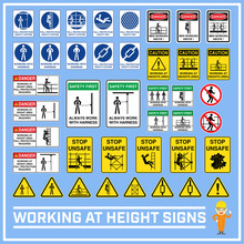 Set Of Safety Caution Signs An...