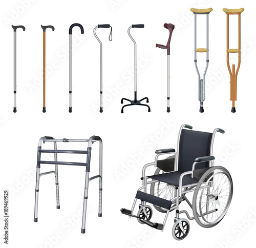 Fotografie, Obraz Wheelchair, cane, crutch, walkers