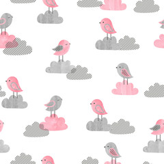 Fototapeta Seamless pattern with cute birds and clouds. Baby print. Vector illustration