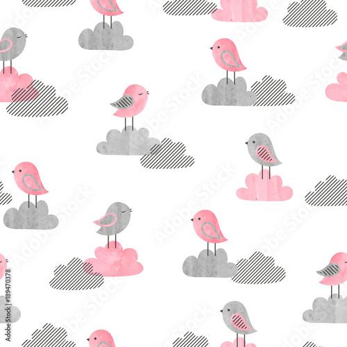 Materiał do szycia Wzór z cute ptaków i chmury. Baby druku. Ilustracja wektorowa