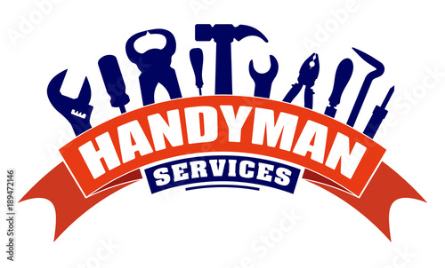 Obraz Handyman services vector design for your logo or emblem with  bend red banner and set of workers tools. There are wrench, screwdriver, hammer, pliers, soldering iron, scrap. - fototapety do salonu