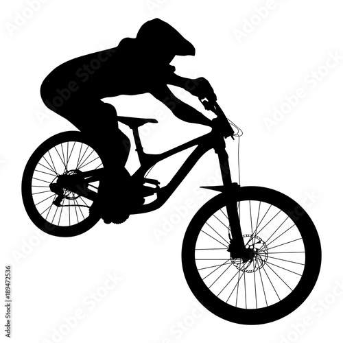 athlete mtb downhill bike black silhouette Canvas Print