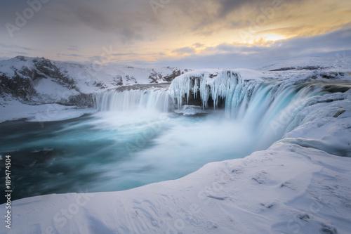 Scenic view of Godafoss waterfall in winter
