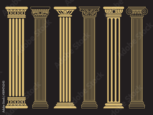 Elegant classic roman, greek architecture line and silhouette columns Wallpaper Mural
