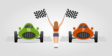 Retro Racing Cars And Girl Wit...