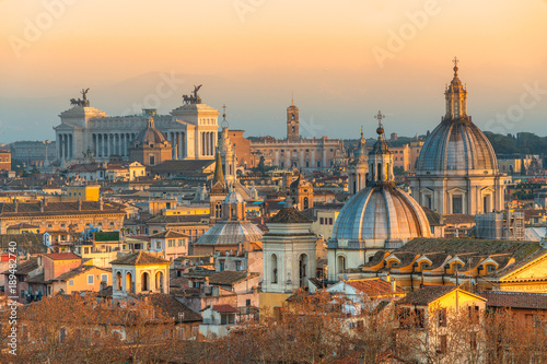 Poster Rome Rome at sunset time with St Peter Cathedral