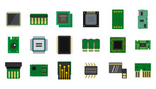 Micro Chip Icon Set, Flat Style