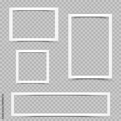 Fototapeta white frames set shadow transparent obraz na płótnie