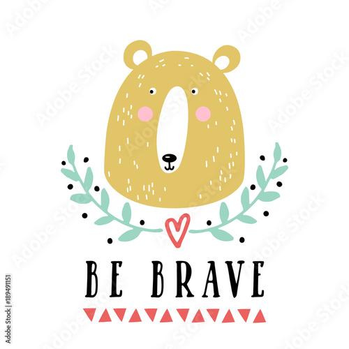 Vector card with cute bear Canvas Print