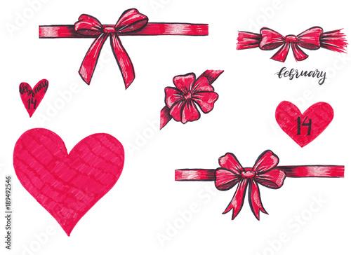 Marker Set Of Valentine Day Elements For Design Ornamental Ribbon