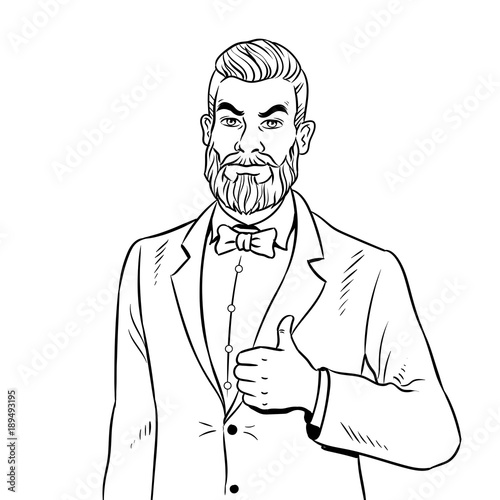 Man with beard thumbs up coloring book vector - Buy this stock ...
