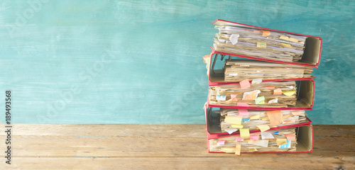 Fotografie, Obraz  messy file folders and documents,panoramic format, good copy space
