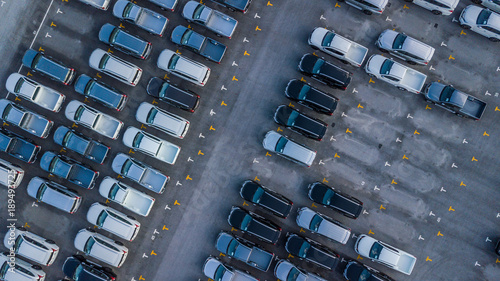 Aerial view Cars For Sale Stock Lot Row  Car Dealer