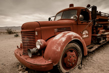 Old Fire Engine In Death Valley.