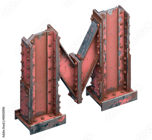 Painted construction of steel beams font  - Buy this stock