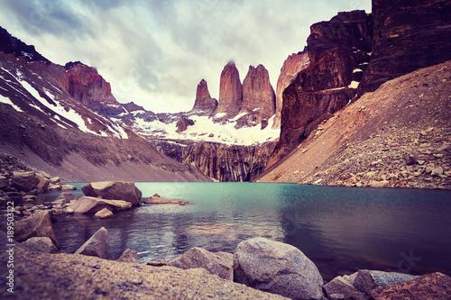 Foto op Plexiglas Zalm Torres del Paine National Park, color toned picture, Patagonia, Chile.
