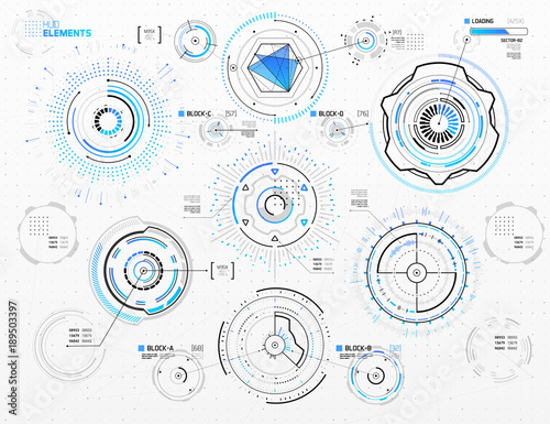 Photo  Vector Circular Elements Set for HUD Sci Fi Interfaces