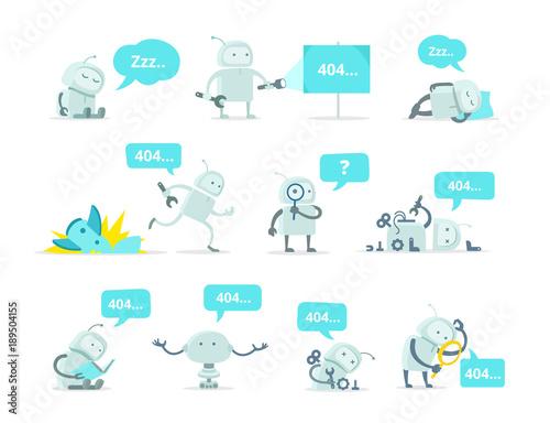 Robot Set 404 error page not found vector Crash accident