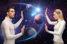 Futuristic Couple Over Planet ...