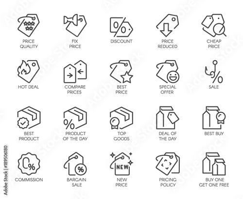 Fotografía  Set of 20 line icons for online or offline stores, shopping, booking sites and mobile apps