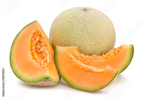 Obraz na plátně sliced cantaloupe melon path isolated