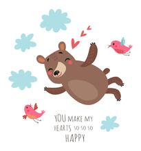 Cute Bear And Birds. Valentine...