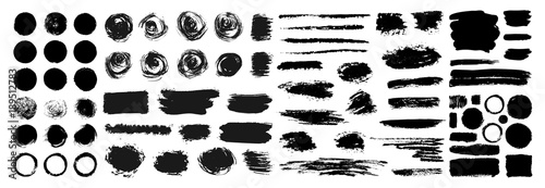Fotografia Mega collection of Hand drawn abstract black paint brush strokes, ribbon,box, wave, heart, round, oval, circle, rectangle, border