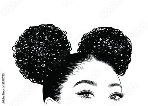 black woman with curls Wallpaper Mural