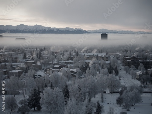 Photo Sunrise and Fog in Anchorage, Alaska