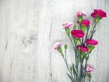 Fototapeta Kwiaty - Flowers of carnations on a wooden light background white