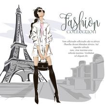 Fashion Woman Near Eiffel Towe...