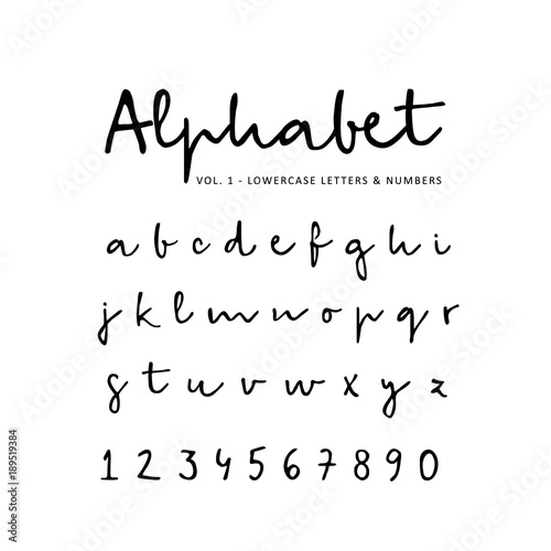 Hand Drawn Vector Alphabet Font Isolated Lower Case Letters And Numbers Written With Marker