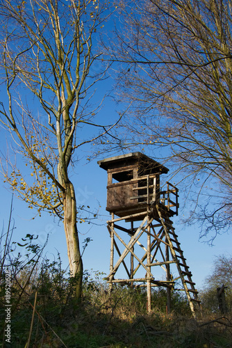 Poster Jacht Hunting tower on the edge of the forest. Hunting lookout between the trees.