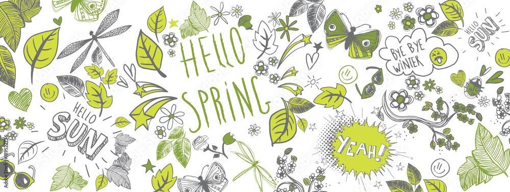 Fototapety, obrazy: Spring doodles background