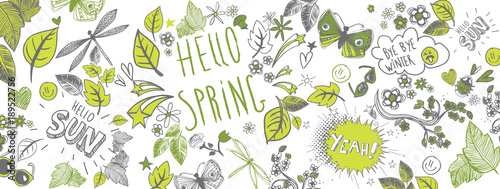 Fototapeta Spring doodles background obraz