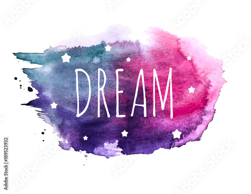 Poster Positive Typography Believe Word with Stars on Hand Drawn Watercolor Brush Paint Background. Vector Illustration