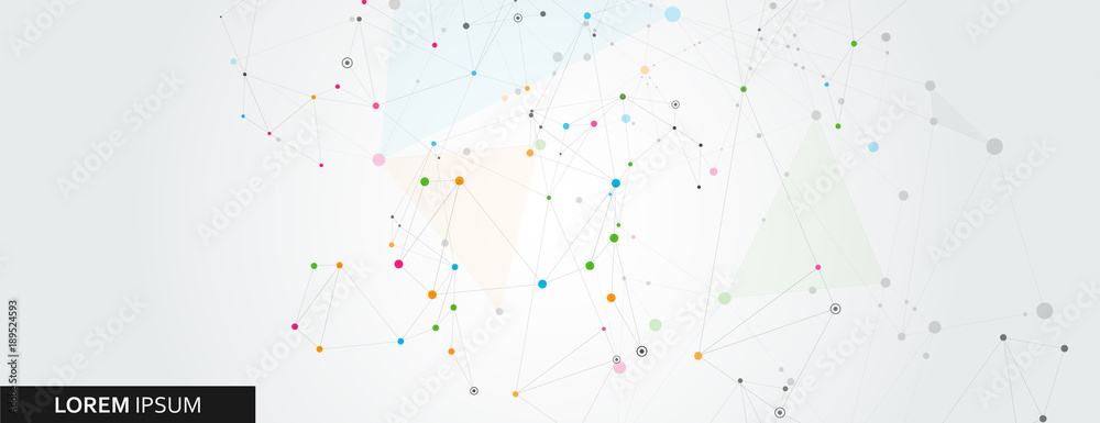 Abstract polygonal horisontal background with abstract connecting dots and lines