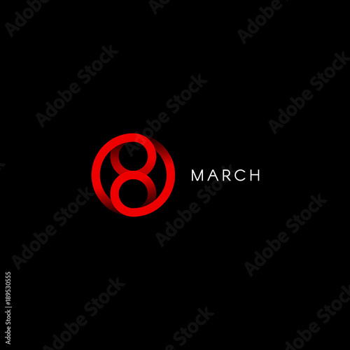 Eight march, happy international womens day, abstract minimal vector logo template on black background. Wall mural