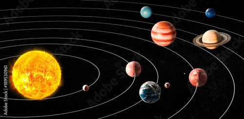 Fotografia, Obraz Sun and planets of the solar system, 3D rendering