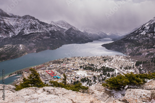 Keuken foto achterwand Olijf Aerial view of Waterton Lakes from the Bear's Hump.