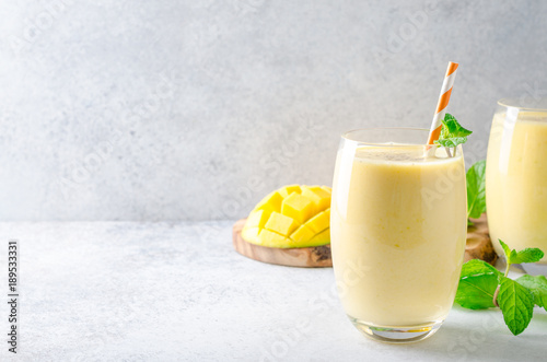 Photo Stands Milkshake Mango lassi in glasses