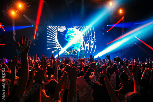 dj night club party rave with crowd in music festive - Buy