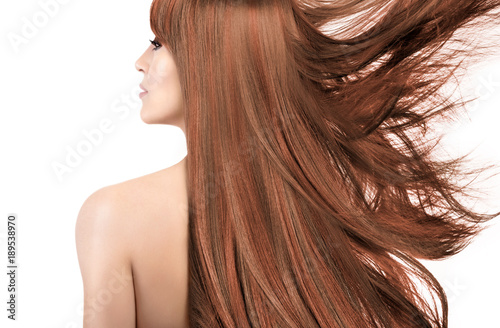 Beauty model with gorgeous long hair with highlights. Coloring ...