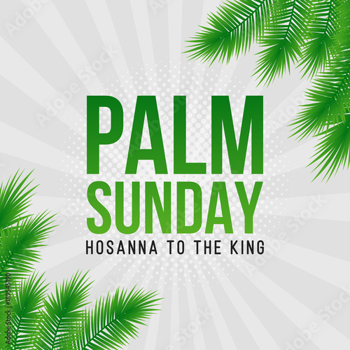 palm sunday holiday card poster with palm leaves border frame vector background