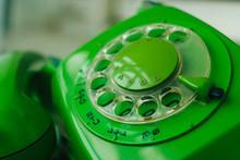 Close Up Green Retro Rotary Te...