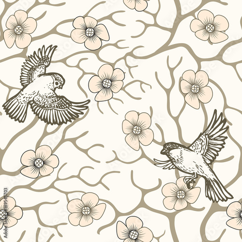 Cotton fabric Spring sakura blossom and flying birds seamless pattern Japanese and Chinese style.